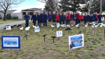 The Flock outside Twizel Area School