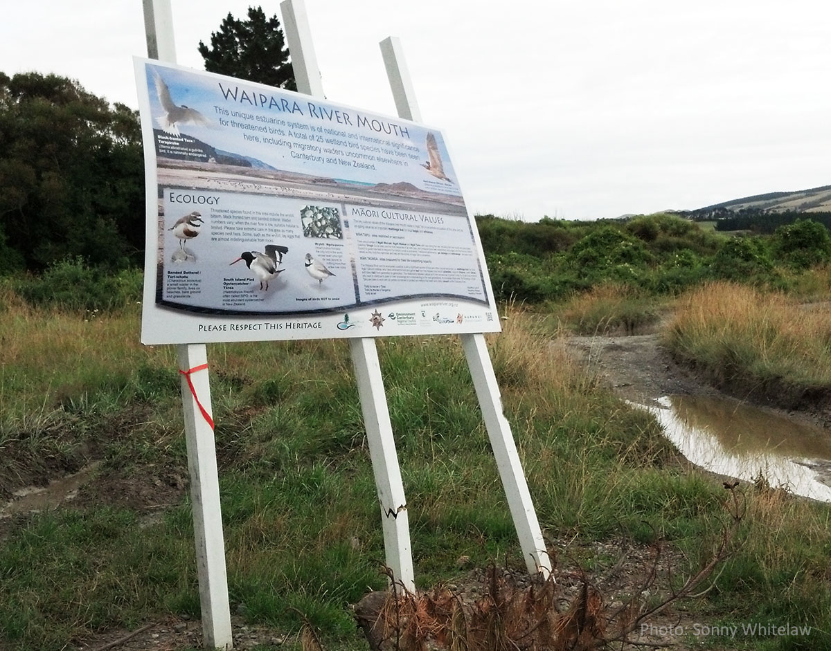 4X4 attack on a sign explaining the nesting birds and Maori cultural values of the Waipara River.