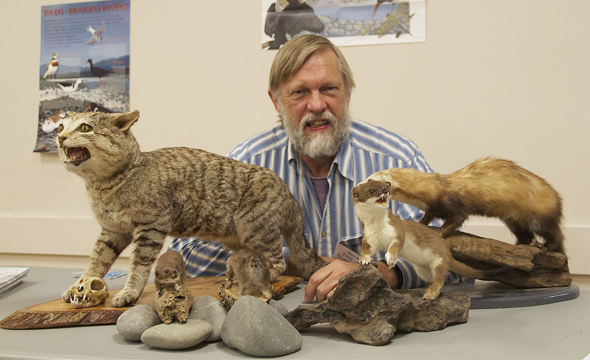 John Dowding with our collection of stuffed predators